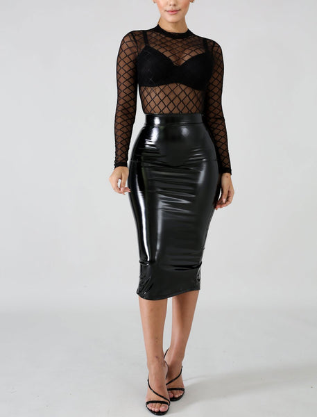 Melrose Midi Skirt in Black
