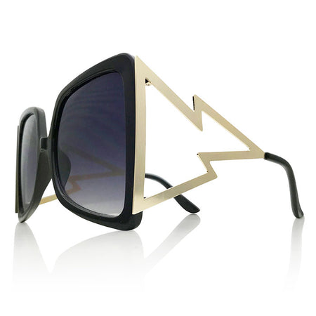 Oversized Crystal Sunglasses with Gradient Lenses