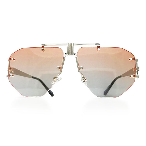 Rimless Aviator Sunglasses in Peach