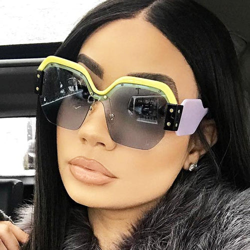 Rimless Colorblock Sunglasses in Purple