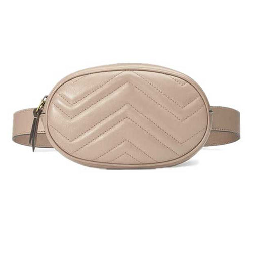 Round Faux Leather Waist Bag in Beige