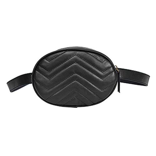 Round Faux Leather Waist Bag in Black