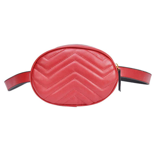 Round Faux Leather Waist Bag in Red