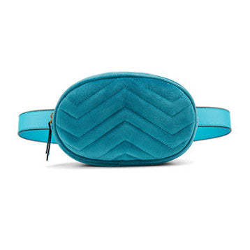 Round Velour Waist Bag in Blue