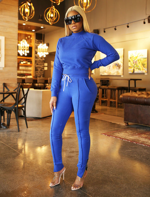 Diamond Girl Jogger Suit in Royal