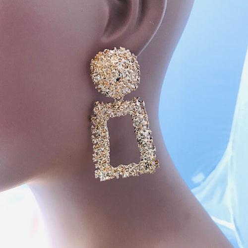 Textured Drop Earrings in Gold