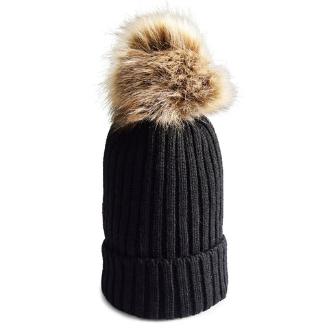 Knit Beanie with Faux Fur Pom in Black/Brown