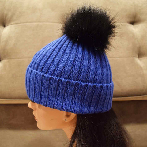 Knit Beanie with Faux Fur Pom in Blue