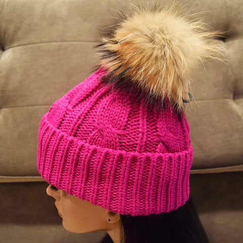 Lux Beanie with Raccoon Fur Pom in Fuchsia