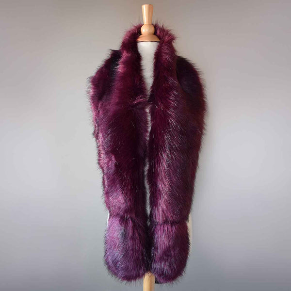 Long Emerald Oxblood Faux Fur Scarf