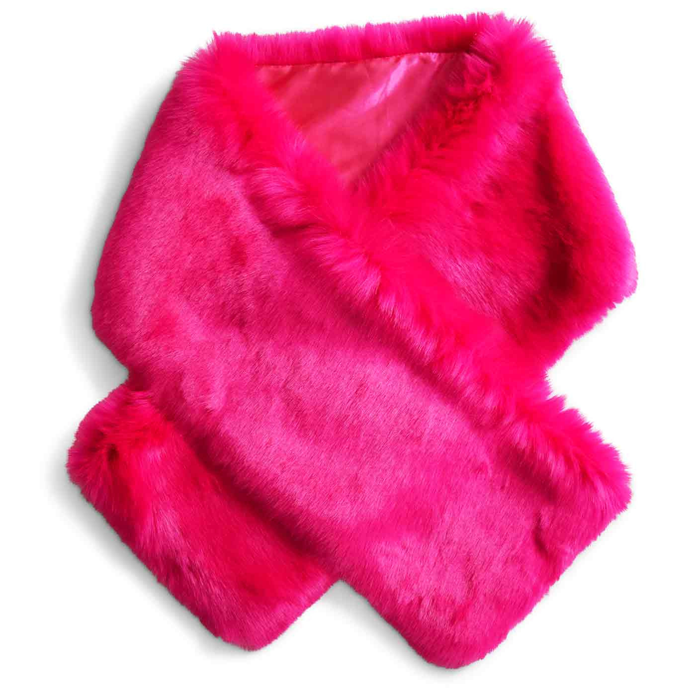 Oversized Faux Fur Stole in Hot Pink