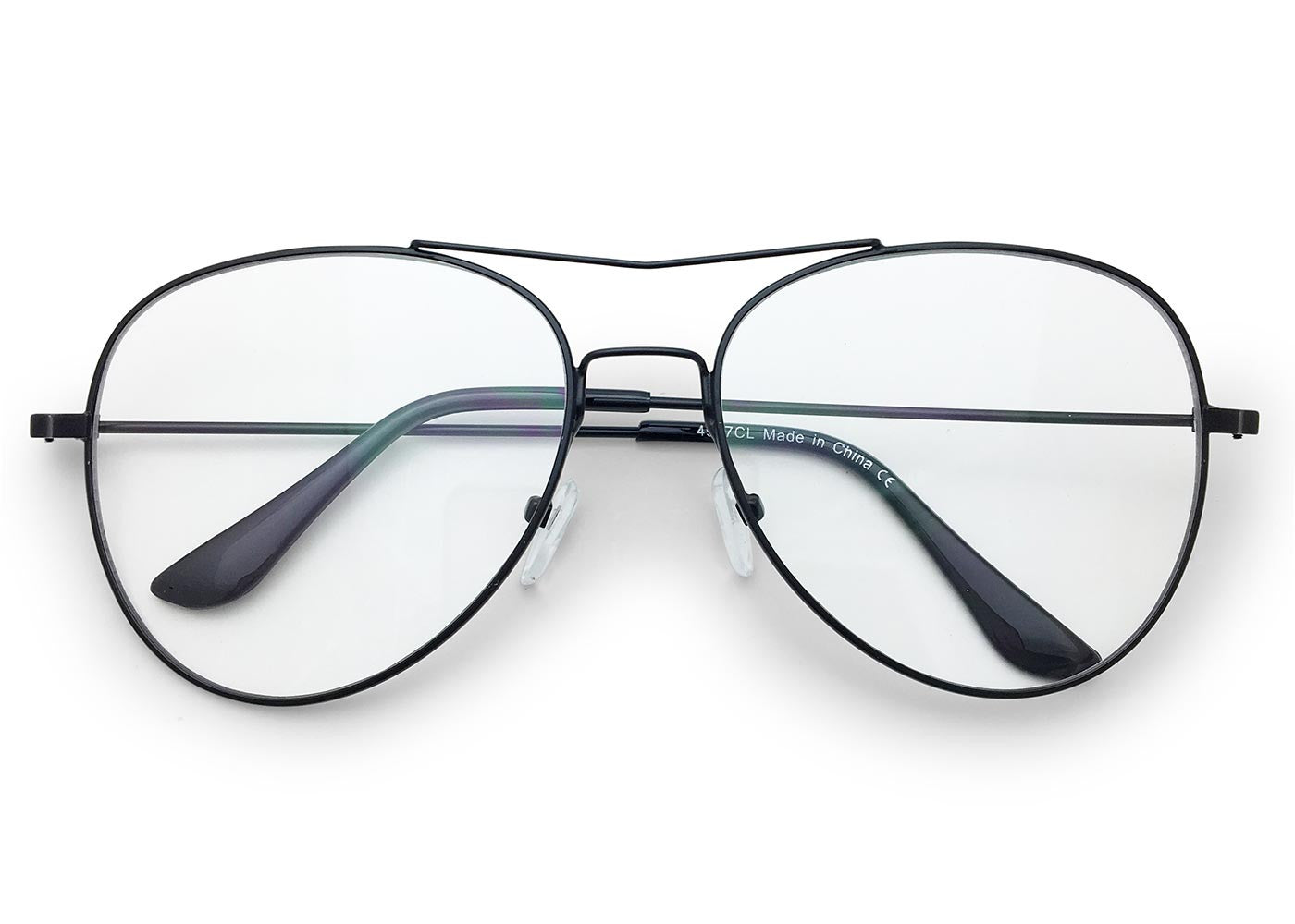 Clear Aviator Glasses with Brow Bar in *BLACK*