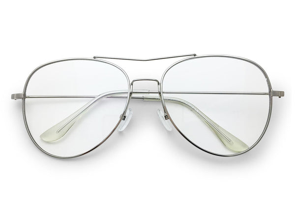 Clear Aviator Glasses with Brow Bar in *SILVER*