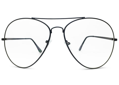 Oversized Aviator Glasses with Clear Lenses in Black