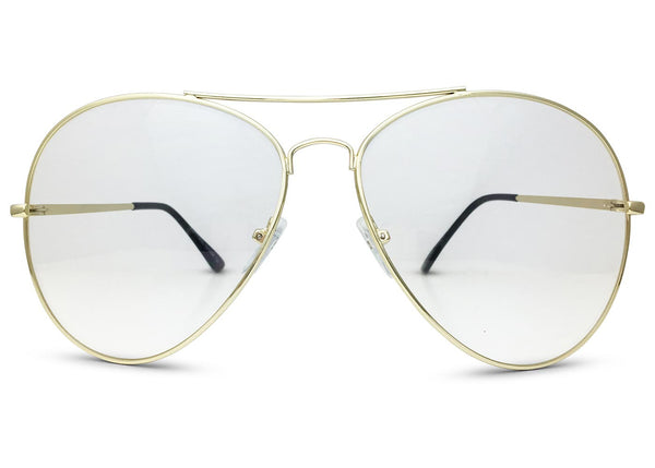 Oversized Aviator Glasses with Clear Lenses in Gold