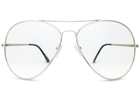 Oversized Aviator Glasses with Clear Lenses in Silver