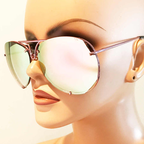 Oversized Giatta Aviators in Mirrored Angel