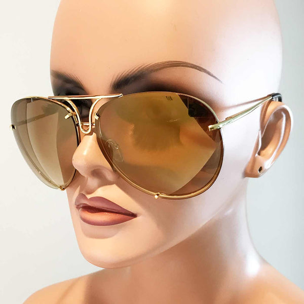 Oversized Giatta Aviators in Mirrored Antique