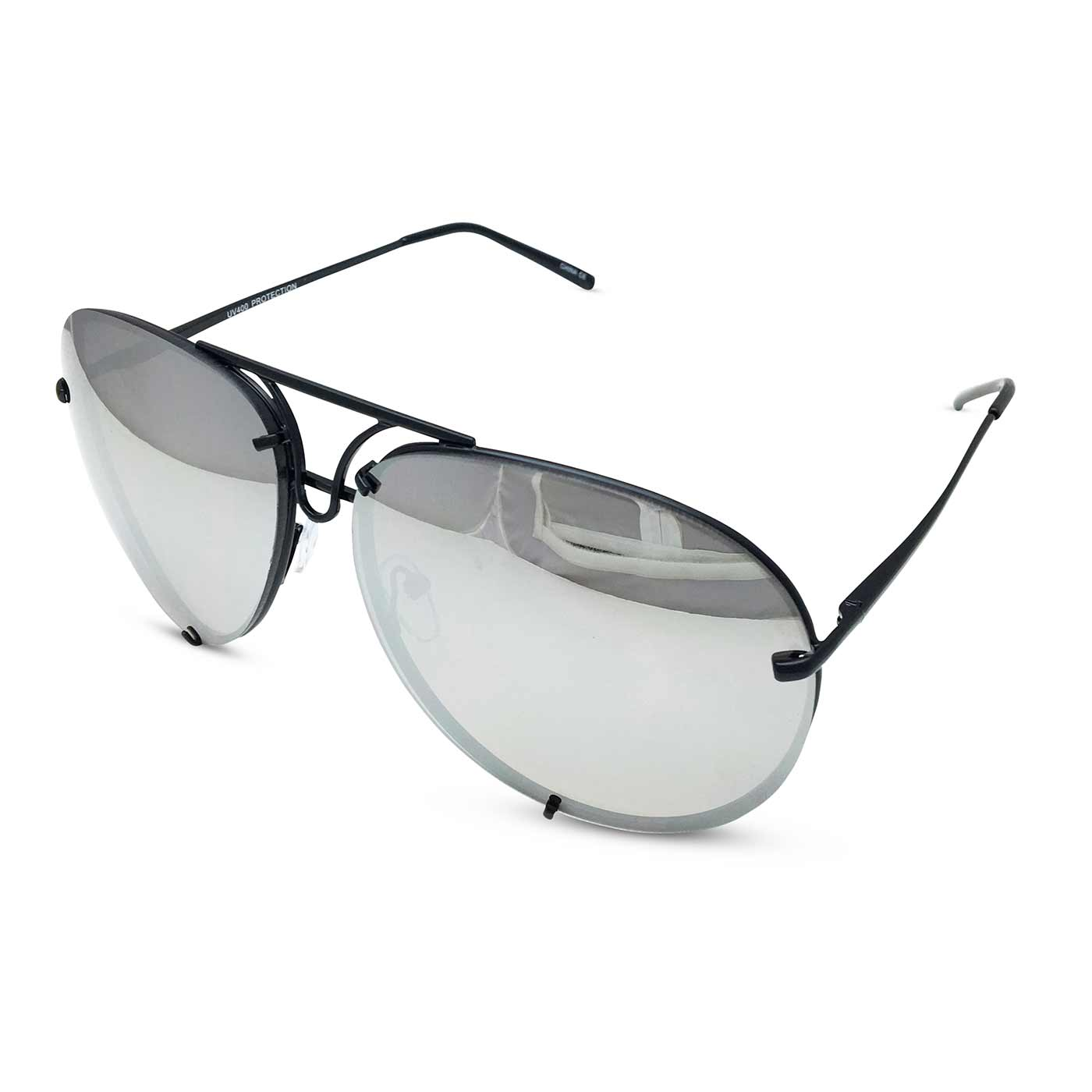 Oversized Giatta Aviators in Mirrored Silver/Black