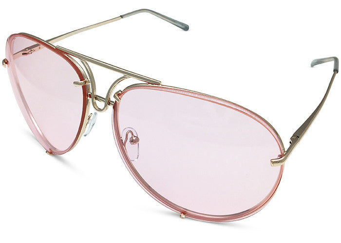 Oversized Giatta Aviators in Pale Pink