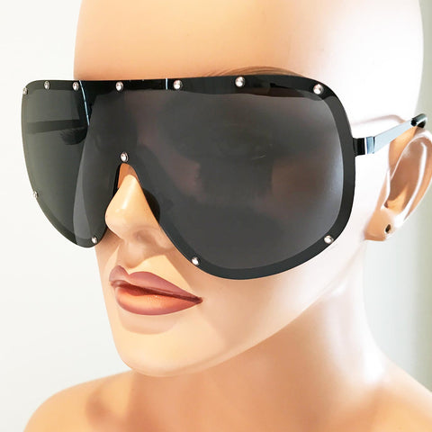 Oversized Studded Shield Sunglasses in Black