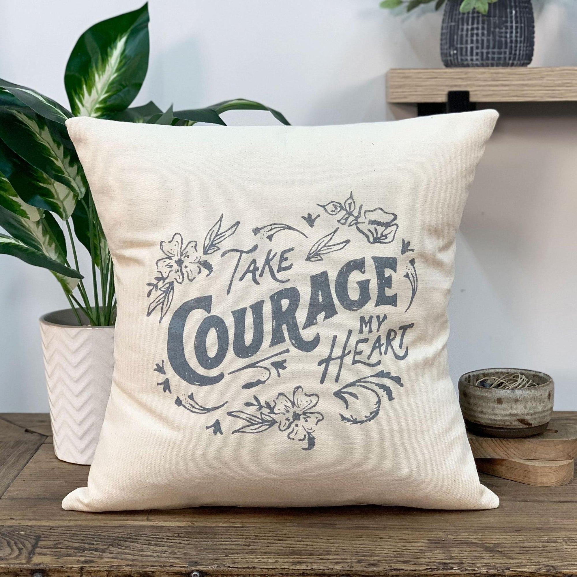 Things That Remain Collection- Take Courage Square Pillow