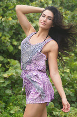 Andalucía Embellished Silk Tank & Shorts Set in pink/lavender print with charcoal accent & crystal embellished detail. Drawstring waist, adjustable, winged sides, elegant, resort wear, sexy, tile print, spain, morocco