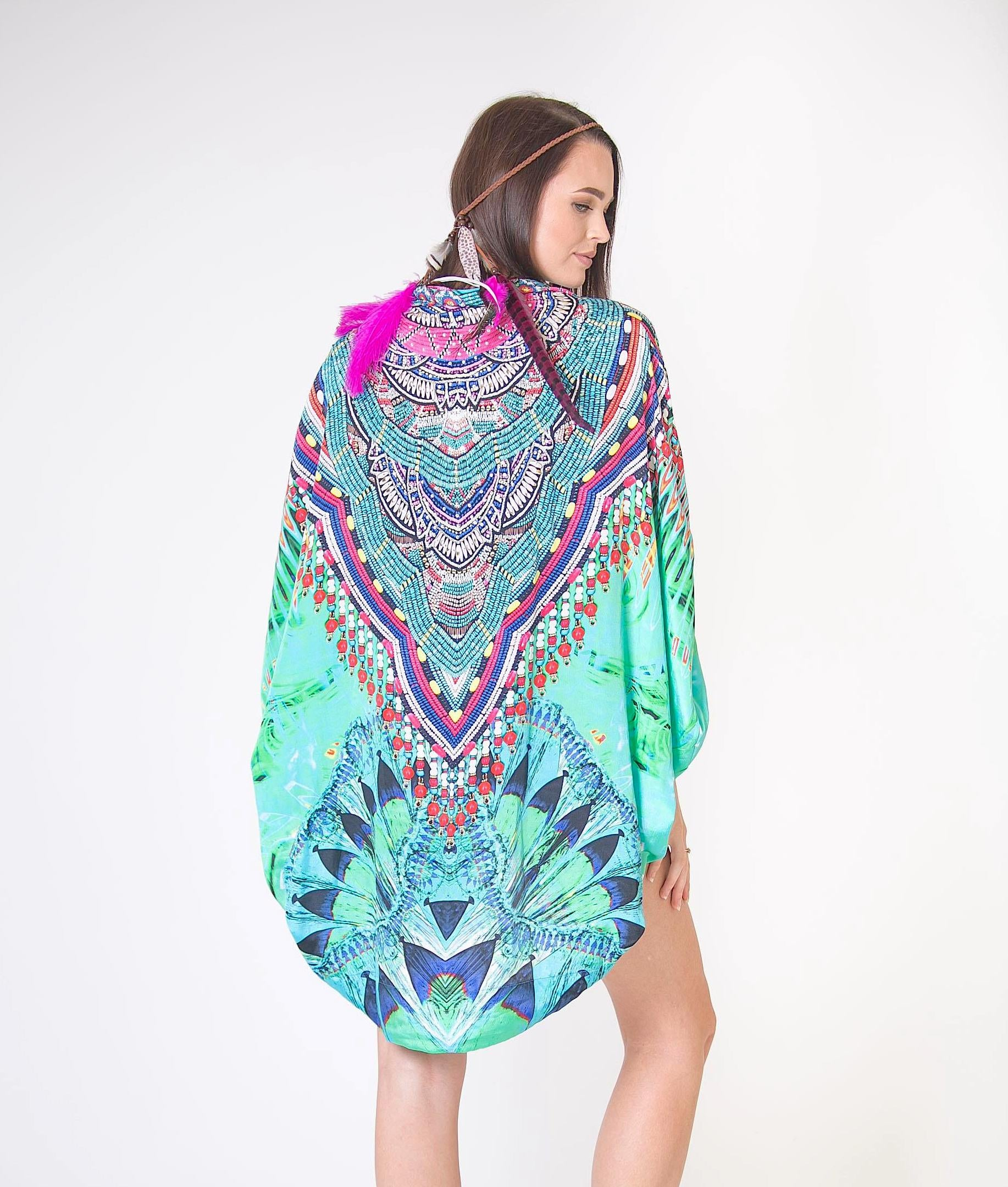 Silk Jeweled Printed Capes - www.LUXEISLE.com