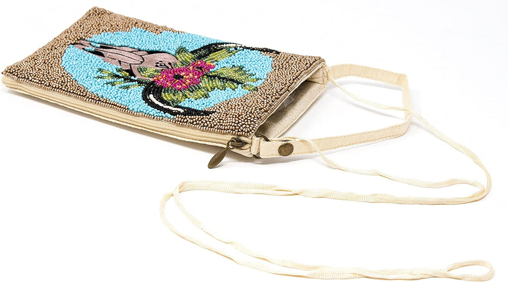 Beaded Cow Skull Bag