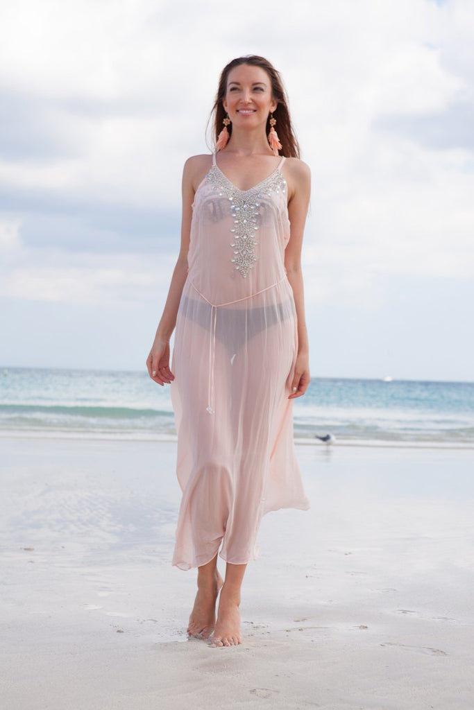 Blush Jeweled Slip Dress - SALE