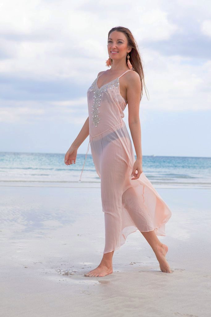 Blush Jeweled Slip Dress - SALE - www.LUXEISLE.com