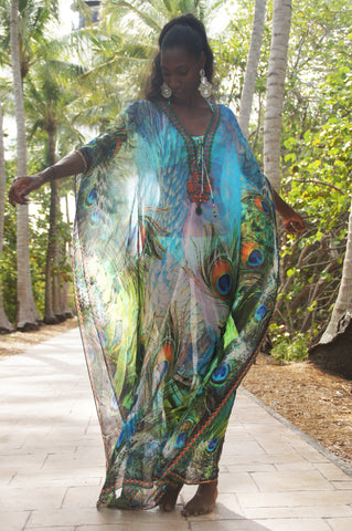 Shimmering Peacock Glam Maxi Kaftan -SALE - www.LUXEISLE.com
