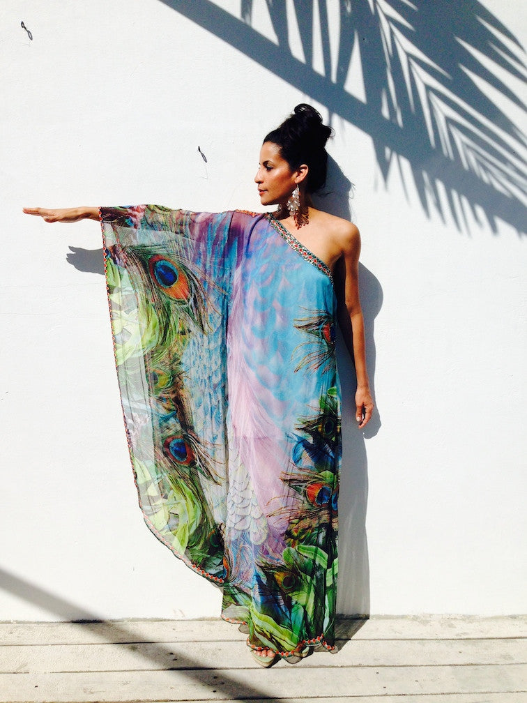 One Shoulder Shimmering Peacock Gown - SALE - www.LUXEISLE.com