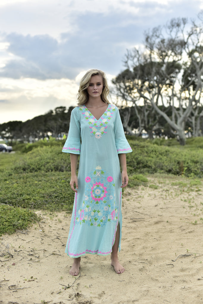 turquoise, aqua, pink, green, white embroidered floral. bohemian maxi tunic