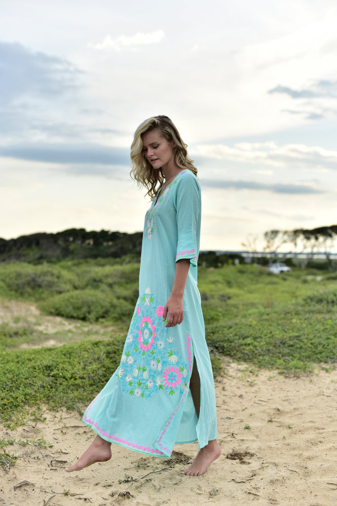 aqua, turquoise, pink, green, white, embroidered floral bohemian maxi tunic