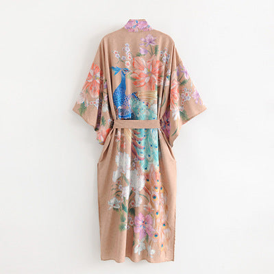 Painterly Peacock Robe