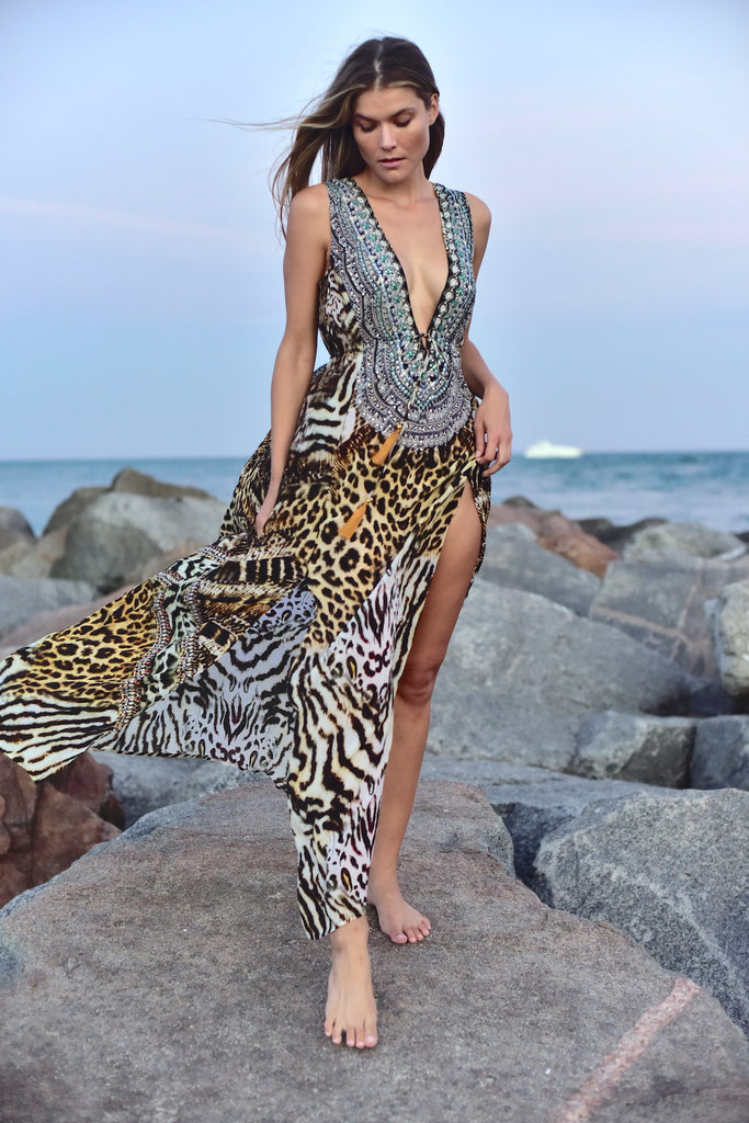 Tempting Tigress Silk Maxi
