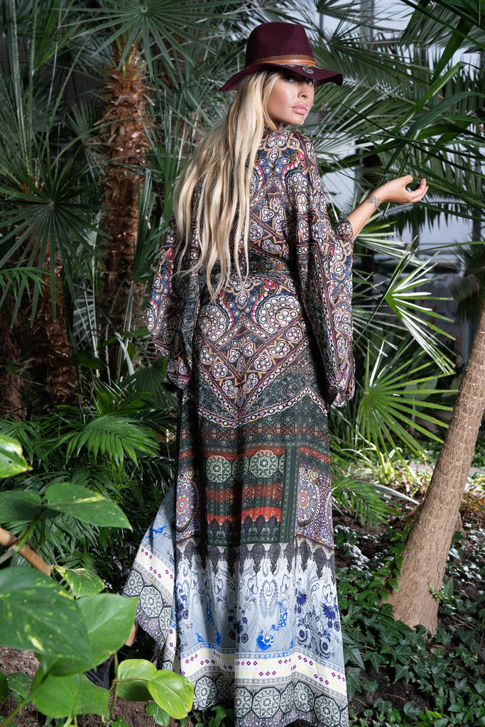 kimono, brown, maxi dress, wrap dress, paisley, silk dress,