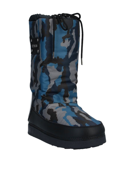 Moschino: Blue Camouflage Moon Boots (Snow Boots)