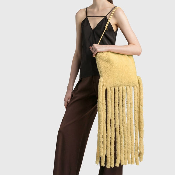 Bottega Veneta: Curly Fringe Shearling Shoulder Bag