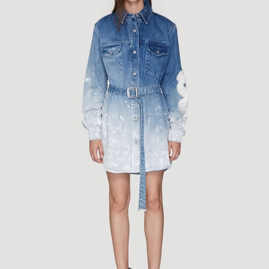 Off-White: This Printed Ombré Denim Dress in Blue