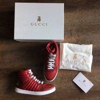 Gucci: Children's Red Leather Sneakers