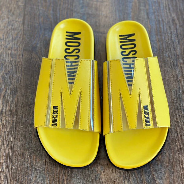 Moschino: M Logo Slide Sandals in Yellow
