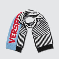 Versace: Striped Knitted Logo Scarf