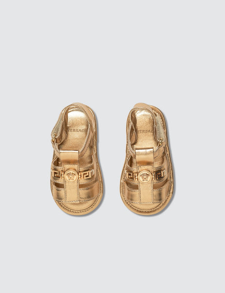 Versace: Young Medusa Gold Sandals