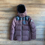MCM: Brown Down Bubble Coat w/ Leather