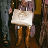 Telfar: Gold Shopping Bag (3 Sizes)