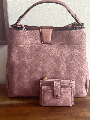 Mauve Leopard Purse or Set