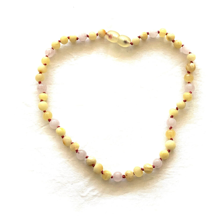 Teething necklace with raw and polished lemon/butter/milk amber & rose quartz