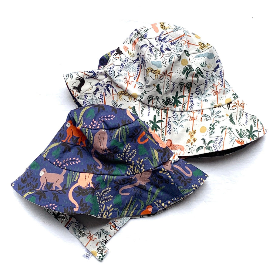 bucket hat in Organic Africa Lion Panther Monkey